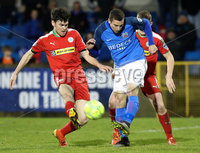 Danske Bank Premiership, Mourneview Park, Lurgan, Co. Armagh 13/1/2018. Glenavon vs Cliftonville. Glenavon\'s Stephen Murray with Conor McDonald of Cliftonville. Mandatory Credit ©INPHO/Declan Roughan
