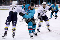 Press Eye - Belfast -  Northern Ireland - 24th August 2019 - Photo by William Cherry/Presseye . Belfast Giants\' Matt Pelech with Herning Blue Fox\'s Victor Andersen during Saturday nights Exhibition Game at the SSE Arena, Belfast.    Photo by William Cherry/Presseye