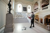 Press Eye - Belfast - Northern Ireland - 12th November 2017 . Belfast Lord Mayor Nuala McAllister lays a wreath inside City Hall Belfast during the National Day of Remembrance . It is the city of Belfast's tribute to the memory of those who died in the Great War and the Second World War. . . Photo by Kelvin Boyes / Press Eye..