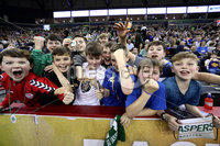 Press Eye - Belfast -  Northern Ireland - 02nd December 2017 - Photo by William Cherry/Presseye. Basketball fans cheer on Manhattan College and Towson College during Saturday evenings Championship game of the Basketball Hall of Fame Belfast Classic at the SSE Arena, Belfast.  Photo by William Cherry/Presseye