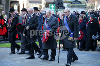 Press Eye - Belfast - Northern Ireland - 12th November 2017 . Guests lay wreaths at The Cenotaph in the Garden of Remembrance, City Hall Grounds, Belfast during the National Day of Remembrance . It is the city of Belfast's tribute to the memory of those who died in the Great War and the Second World War. . . Photo by Kelvin Boyes / Press Eye..