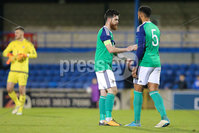 PressEye - Belfast - Northern Ireland - 10th October 2017. Euro 2019 Qualifier. Northern Ireland U21 vs Estonia U21. Pictured: Northern Ireland\'s Liam Donnelly and Ryan Johnson.. Picture: PressEye / Philip Magowan