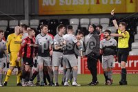 3/12/2019. Bet McLean league cup semi final between Crusaders and Institute at Seaview..  Institutes Joe McCready gets a red card for kicking Colin Coates. Mandatory Credit Inpho/Stephen Hamilton
