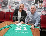 Press Eye Belfast - Northern Ireland 17th May 2017. North Belfast team Crusaders sign former Burnley goalkeeper Brian Jensen from Mansfield Town.. Brian Jensen(left) pictured with assistant manager Jeff Spears.  . Picture by Jonathan Porter/PressEye.com.
