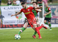 4th August 2018. Danske Bank Irish premier league match between Glentoran and Cliftonville at The Oval in Belfast.. Glentorans Willie Garrett  in action with Cliftonvilles Jay Donnelly.  Mandatory Credit: Stephen Hamilton /Inpho