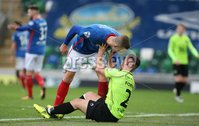 Danske Bank Premiership, Windsor Park, Belfast  3/11/2018. Linfield FC vs Warrenpoint Town. Linfield  Michael O\'Connor       and  Seanna Foster   of Warrenpoint Town.. Mandatory Credit @INPHO/Brian Little.