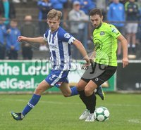 Danske Bank Premiership, Showgrounds, Coleraine 4/8/2018. Coleraine vs Warrenpoint. Warrenpoint\'s Frances McCafferty and Coleraine\'s Ciaran Harkin. Mandatory Credit ©INPHO/Lorcan Doherty