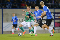 PressEye - Belfast - Northern Ireland - 10th October 2017. Euro 2019 Qualifier. Northern Ireland U21 vs Estonia U21. Pictured: Northern Ireland\'s Mark Sykes and Estonia\'s German Slein.. Picture: PressEye / Philip Magowan
