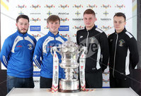 Press Eye Northern Ireland . Thursday 6th December 2018. Picture by Jonathan Porter  / Press Eye . . 5th Round Draw of the Tennent\'s Irish Cup that took place today in Pat Jennings Lounge, National Football Stadium at Windsor Park.. . Strabane Athletics Shay Duffy and Oran McShane at the Tennents Irish Cup fifth round draw alongside Knockbreda pair Darius Roohi and Ciaran Dobbin. The teams will face each other at Knockbreda in round five on Saturday 5 January.