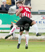 Airtricity League Premier Division, The Brandywell 13/7/2012. Derry City vs Sligo Rovers. Derry\'s Davy McDaid celebrates scoring his sides opening goal with Conor Murphy. Mandatory Credit ©INPHO/Margaret McLaughlin