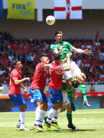 Press Eye - Belfast -  Northern Ireland - 03rd June 2018 - Photo by William Cherry/Presseye. Costa Rica\'s Johnny Acosta with Northern Ireland\'s Gareth McAuley during Sunday mornings International Friendly at the Nuevo Estadio Nacional de Costa Rica in San Jose.   Photo by William Cherry/Presseye