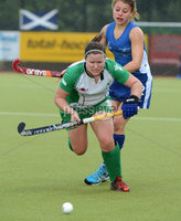 Mandatory Credit: Rowland White/Presseye. Women\'s Hockey: Senior Celtic Cup. Teams: Ireland (green) v Scotland (blue). Venue: Lisnagarvey. Date: 28th June 2012. Caption: Shirley McCay, Ireland and Nicola Skrastin, Scotland