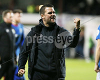 Danske Bank Premiership, The Oval, Belfast 8/10/2018. Glentoran vs Linfield. Linfield\'s manager David Healy celebrate after they win the match 0-1. . . Mandatory Credit INPHO/Jonathan Porter