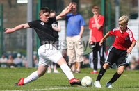 ©/Presseye.com - 9th July 2017.  Press Eye Ltd - Northern Ireland - Hughes Insurance Foyle Cup U-13 2017- GPS FC Bayern (USA) V Bertie Peacock Youth League.. Kyle Pollard (GPS FC Bayern) and Adam Millar (B Peacock YL).  . Mandatory Credit Photo Lorcan Doherty / Presseye.com