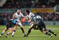 12 February 16 - Picture by Darren Kidd / Press Eye..  . Guinness PRO12 Ulster v Glasgow at Kingspan Stadium, Belfast.. Ulster\'s Franco van der Merwe is tackled by Glasgow\'s Greg Peterson