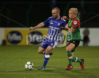 Danske Bank Premiership, NIFL. The Oval, Belfast.. 07-09-2018. Glentoran v Newry City AFC. Stephen Hughes Newry and Connor Pepper Glentoran. Mandatory Credit ©INPHO/Freddie Parkinson