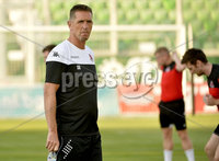 10th July  2018. Crusaders manager Stephen Baxter pictured at a training session ahead of tomorrows Champions league match between Ludogrets and Crusaders. Mandatory Credit: Inpho/Stephen Hamilton