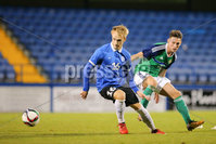 PressEye - Belfast - Northern Ireland - 10th October 2017. Euro 2019 Qualifier. Northern Ireland U21 vs Estonia U21. Pictured: Northern Ireland\'s David Parkhouse and Estonia\'s Mark Oliver Roosnupp.. Picture: PressEye / Philip Magowan