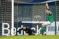 PressEye - Belfast - Northern Ireland - 10th October 2017. Euro 2019 Qualifier. Northern Ireland U21 vs Estonia U21. Pictured: Estonia\'s Matvei Igonen is beaten by Mark Sykes for a second time.. Picture: PressEye / Philip Magowan