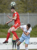 13th April 2019. Danske Bank Irish premiership. Cliftonville v Ballymena United at Solitude Belfast.. Cliftonville\'s Rory Donnelly in action with Ballymena\'s  Scot Whiteside. Mandatory Credit -Inpho/Stephen Hamilton .