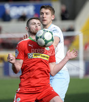 13th April 2019. Danske Bank Irish premiership. Cliftonville v Ballymena United at Solitude Belfast.. Cliftonville\'s Rory Donnelly  in action with Ballymena\'s Johnny Addis. Mandatory Credit -Inpho/Stephen Hamilton .