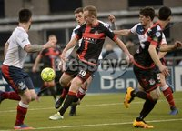 . Danske Bank Premiership, Seaview, Belfast 13/1/2018. Crusaders vs Ards. Crusaders Jordan Owens  in action with Ards Callum Byers. Mandatory Credit ©INPHO/Stephen Hamilton