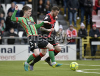 Danske Bank Premiership, Seaview Belfast.. 10/02/2018.  Crusaders v Glentoran. Crusaders Darren Murray  in action with Glentorans Peter McMahon. Mandatory Credit ©INPHO/Stephen Hamilton.