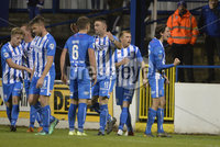 Bet Mclean league cup 3rd round . 8th October 2019. Coleraine  v Glentoran ay Ballycastle road, Coleraine. Coleraines Jamie Glackin celebrates after scoring. Mandatory Credit INPHO/Stephen Hamilton.