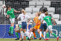 Press Eye - Belfast - Northern Ireland - 8th October 2019. European Women\'s U19 Championship 2020 Qualifying Round -  Northern Ireland Vs Norway, Seaview. Northern Ireland\'s Toni Leigh Finnegan clears a Norway corner. . Picture by Jonathan Porter/PressEye