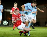 BetMcLean League Cup Round 3, Ballymena Showgrounds, Ballymena 10/10/2017. Ballymena United vs Portadown. Ballymena United\'s Gary Thompson and Kyle McVey of Portadown. Mandatory Credit ©INPHO/Brian Little