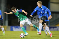 PressEye - Belfast - Northern Ireland - 10th October 2017. Euro 2019 Qualifier. Northern Ireland U21 vs Estonia U21. Pictured: Northern Ireland\'s Paul Smyth and Estonia\'s Michael Lilander.. Picture: PressEye / Philip Magowan
