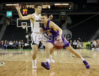 Press Eye - Belfast -  Northern Ireland - 30th November 2018 - Photo by William Cherry/Presseye. Albany\'s Cameron Healy with Dartmouth\'s Wes Slajchert during Friday afternoons Samson Bracket Consolation game in the Basketball Hall of Fame Belfast Classic at the SSE Arena, Belfast.