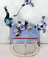 Press Eye - Belfast -  Northern Ireland - 06th April 2019 - Photo by William Cherry/Presseye. Belfast Giants\' Jonathan Ferland scoring against Coventry Blaze during Saturday evenings PredictorBet Playoff Quarter Final 1st Leg game at the SSE Arena, Belfast. Photo by William Cherry/Presseye