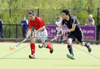 Press Eye - Belfast - Northern Ireland - Sunday 6th May 2012 -  Picture by Kelvin Boyes / Press Eye . Electric Ireland Men\'s Hockey League Final between Lisnagarvey and Dublin YMCA at Lisnagarvey Hockey Club, Hillsborough.. Mark Raphael of Lisnagarvey and David Robinson of Dublin YMCA