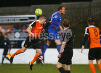 Dance Bank Premiership, Taylors Avenue, Carrickfergus.  09.01.2018. Carrick Rangers Vs Linfield FC. Carrick\'s Danny Magill with Linfield\'s Achille Campion. Mandatory Credit©INPHO/PressEye.com/Jonathan Porter.