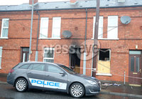Press Eye Belfast - Northern Ireland 15th May 2017. The scene on Clara Street in east Belfast where an arson attack took place on Sunday evening with a woman being taken to hospital with injuries to her legs. . Picture by Jonathan Porter/PressEye.com.