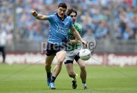 GAA Football All Ireland Senior Championship Quarter-Final, Croke Park, Dublin 2/8/2015. Dublin vs Fermanagh. Dublin\'s Diarmuid Connolly with Marty O\'Brien of Fermanagh. Mandatory Credit ©INPHO/Donall Farmer
