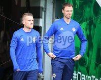 PressEye-Northern Ireland- 10th September  2018-Picture by Brian Little/ PressEye. Northern Ireland  Steven Davis and Jonny Evans      training ahead of Tuesday Friendly International Challenge match against Israel  at the National Football Stadium at Windsor Park.. Picture by Brian Little/PressEye .