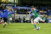 PressEye - Belfast - Northern Ireland - 10th October 2017. Euro 2019 Qualifier. Northern Ireland U21 vs Estonia U21. Pictured: Northern Ireland\'s Jordan Thompson and Estonia\'s Michael Lilander.. Picture: PressEye / Philip Magowan