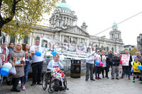 Press Eye Belfast - Northern Ireland 7th October 2017. Mental health march in Belfast city centre organised by campaigner Philip McTaggart, who lost his son Philip to suicide in 2003.  The march follows the death of 31-year-old Stephen Ferrin who died in September. He had previously lost his two brothers to suicide.  Stephen Ferrin\'s mother Patricia (centre) pictured at the march. . Picture by Jonathan Porter/PressEye.com.