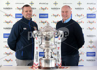 Press Eye Northern Ireland . Thursday 6th December 2018. Picture by Jonathan Porter  / Press Eye . . 5th Round Draw of the Tennent\'s Irish Cup that took place today in Pat Jennings Lounge, National Football Stadium at Windsor Park.. . Coleraine\'s Rodney McAree and Welders Norman Kelly