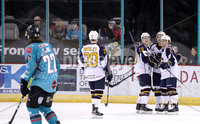 Press Eye - Belfast, Northern Ireland - 29th February 2020 - Photo by William Cherry/Presseye. Guildford Flames\' Ben Davies celebrates scoring against the Belfast Giants during Saturday nights Elite Ice Hockey League game at the SSE Arena, Belfast.    Photo by William Cherry/Presseye
