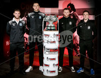 Press Eye - Belfast - Northern Ireland - 06th February 2019.. NO IMAGE FEE. Ballymena players James Knowles and Adam Lecky along with Linfield players Niall Quinn and Jamie Mulgrew pictured at the 2019 BetMcLean League Cup final press conference, at The National Football Stadium at Windsor Park.. Photo by Matt Mackey / Press Eye.