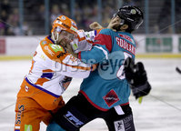 Press Eye - Belfast -  Northern Ireland - 05th January 2018 - Photo by William Cherry/Presseye. Belfast Giants Spiro Goulakos with Sheffield Steelers Colton Fretter during Friday nights Elite Ice Hockey League game at the SSE Arena, Belfast