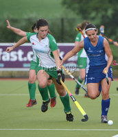 Mandatory Credit: Rowland White/Presseye. Women\'s Hockey: Senior Celtic Cup. Teams: Ireland (green) v Scotland (blue). Venue: Lisnagarvey. Date: 28th June 2012. Caption: Michelle Harvey, Ireland and Samantha Judge, Scotland