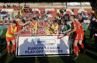 . Danske Bank Premiership Europa League Playoff, Solitude, Belfast 11/5/2019. Cliftonville vs Glentoran. Cliftonville players celebrate after winning a place in the Europa league. Mandatory Credit INPHO/Stephen Hamilton.