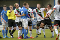 9th August 2019. Danske Bank Premiership. Mourneview Park, Lurgan. . Glenavon FC Vs Glentoran FC. Tempers flare between Glenavon and Glentoran players. Mandatory Credit : Stephen Hamilton/Inpho