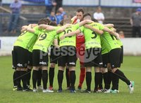 Danske Bank Premiership, Showgrounds, Coleraine 4/8/2018. Coleraine vs Warrenpoint. The Warrenpoint team huddle before the game. Mandatory Credit ©INPHO/Lorcan Doherty