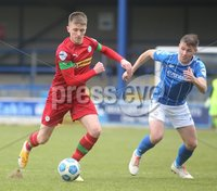 Danske Bank Premiership, Showgrounds, Coleraine , Co. Derry. Northern Ireland 1/5/2021. Coleraine V Cliftonville. Cliftonvilles Ryan Curran and Coleraines Stephen Lowry.. Mandatory Credit INPHO/Presseye/Lorcan Doherty.