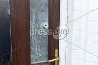 12th October 2017 . General views of a house in Upper Meadow street in Belfast where a thirty year old man was left shaken after shots wetre fired through the front door..  Photo: Presseye/Stephen Hamilton
